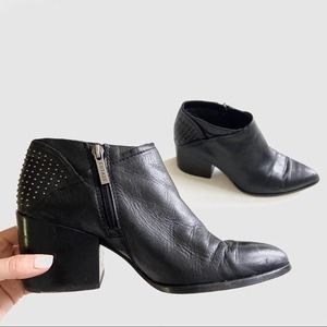 1. state black studded leather ankle zip boots